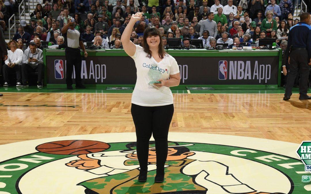 "Receiving ""Heroes Among Us Award"" – Boston Celtics"